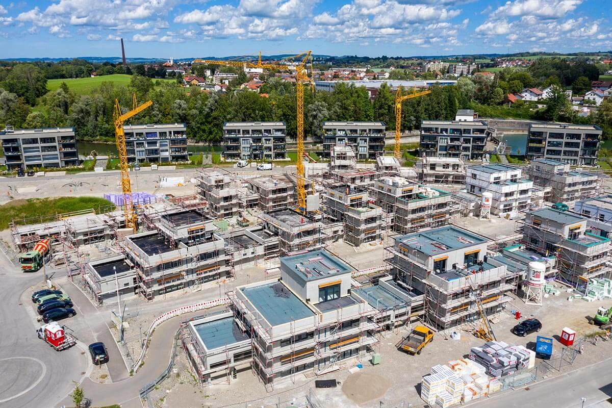 Neubaugebiet in Waltenhofen-Hegge an der Iller - illerbogen - Binova - Geiger Schmeh - Einfamilienhäuser - Neubauten - Baugebiet - Haus Baustelle Hochbau - Eigentumswohnungen - Kräne - ex Haindl
