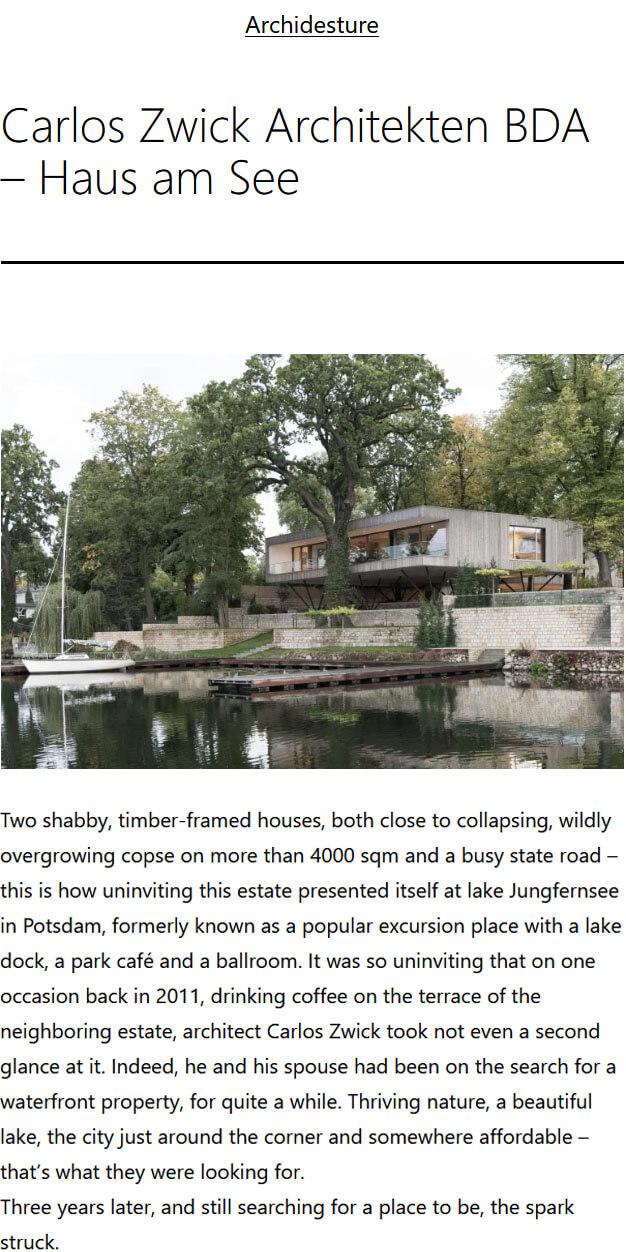 Haus am See in Archidesture