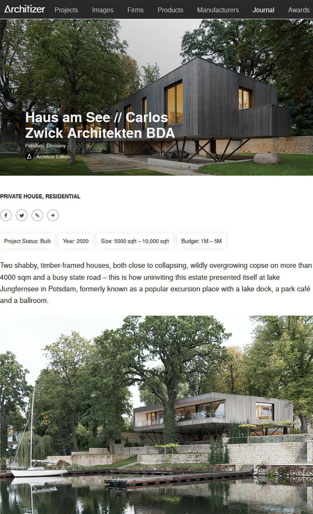 Haus am See in Architizer