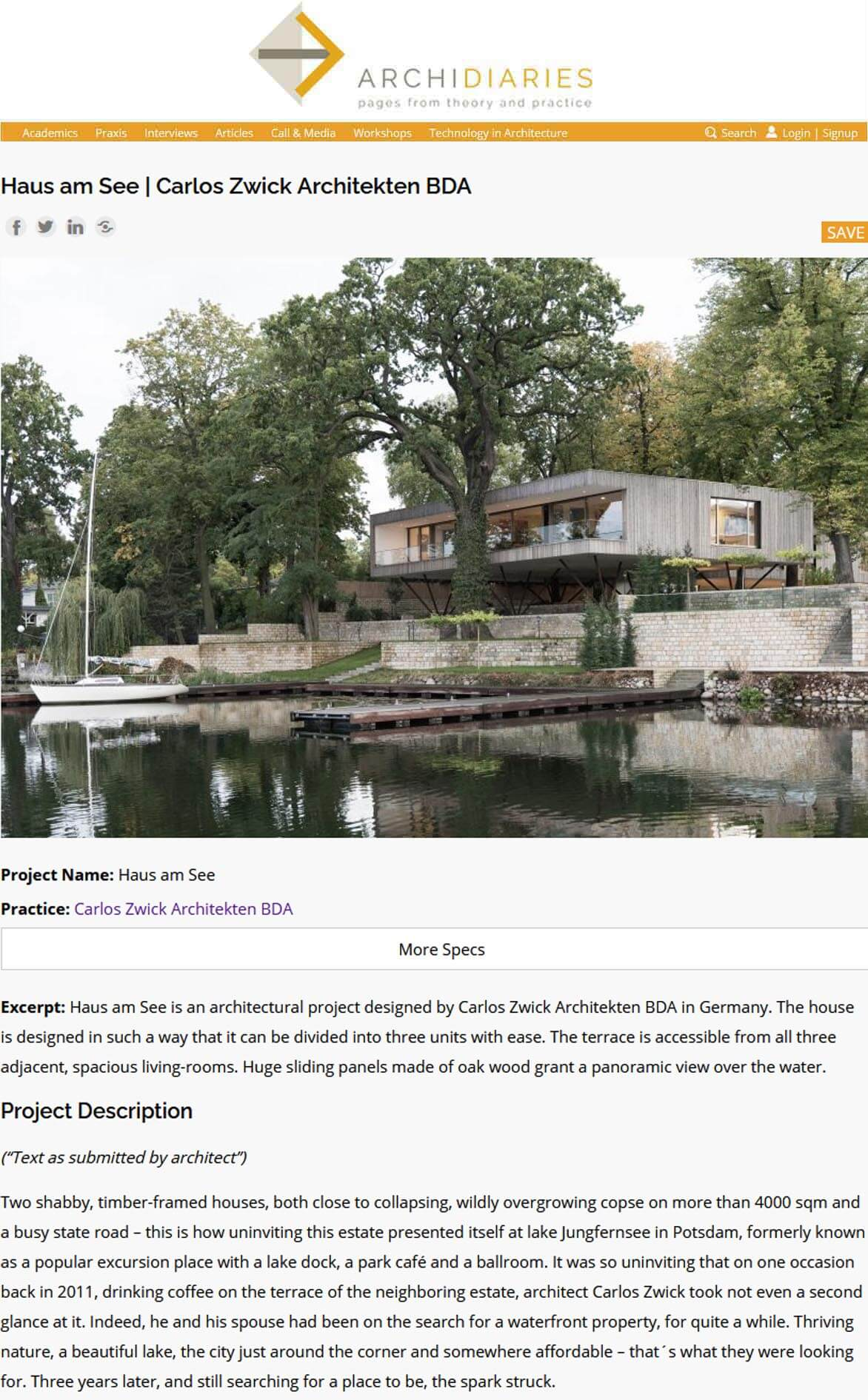 Haus am See in ArchiDiaries